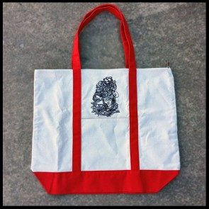 Kat Wright White and Red Zipper Tote