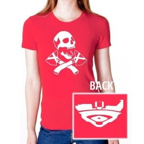 Womens Red Skull and Tomahawk T