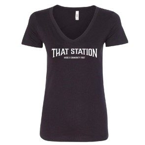 That Station Music & Community First Women's V-neck T - Black
