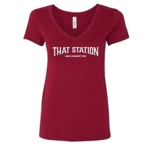 That Station Music & Community First Women's V-neck T - Cardinal
