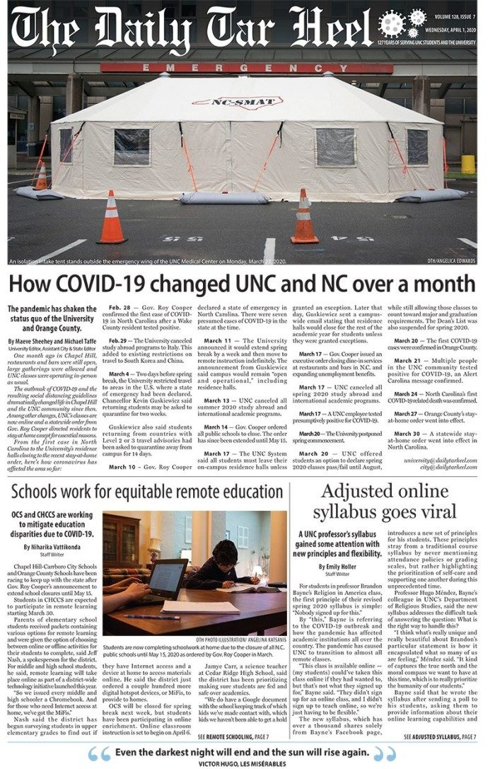Special Coronavirus Edition of The Daily Tar Heel (2 copies)