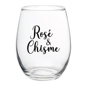 """Rosé and Chisme"" Wine Glass"