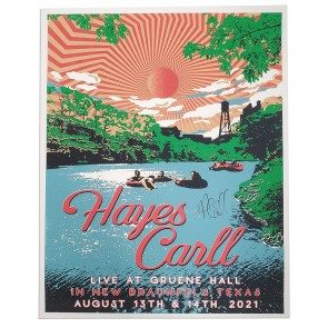 POSTER: Hayes Carll - New Braunfels, TX - August 13-14, 2021 (Autographed)