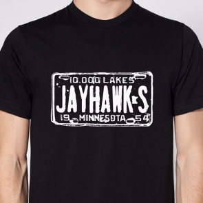 Jayhawks License Plate T, Black
