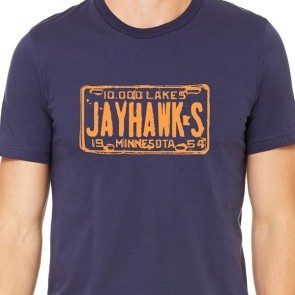 Jayhawks License Plate T, Navy