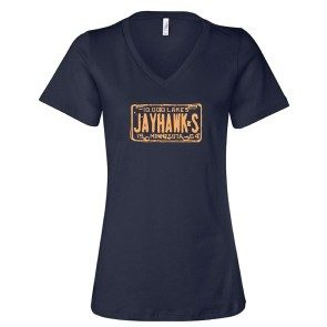 Women's License Plate V-Neck, Navy