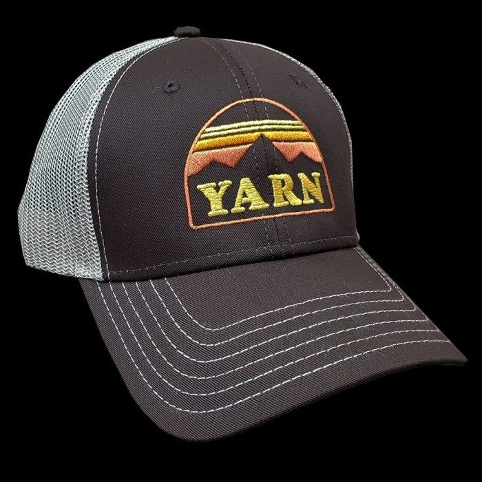Yarn Embroidered Logo Trucker Cap, Brown/Mocha