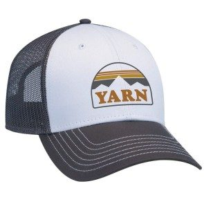 Yarn Embroidered Logo Trucker Cap, White/Grey