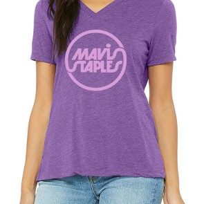 Women's Purple V-Neck Mavis Staples Circle Logo T