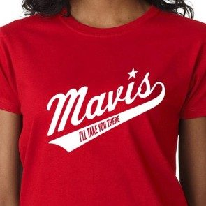Women's Red Mavis Staples Baseball Logo T