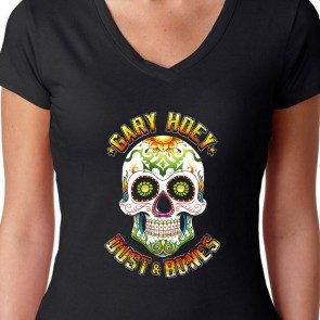 Women's Full Color Dust & Bones Skull V-Neck
