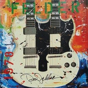 Autographed Double Neck Guitar Poster