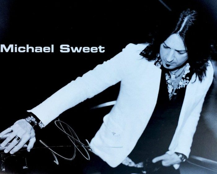Michael Sweet Autographed Black and White 8x10