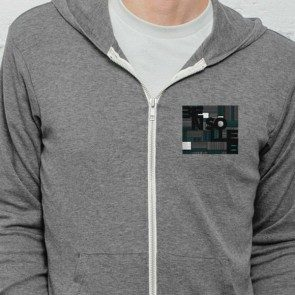 Squares and Lines Fleece Zipper Hoodie