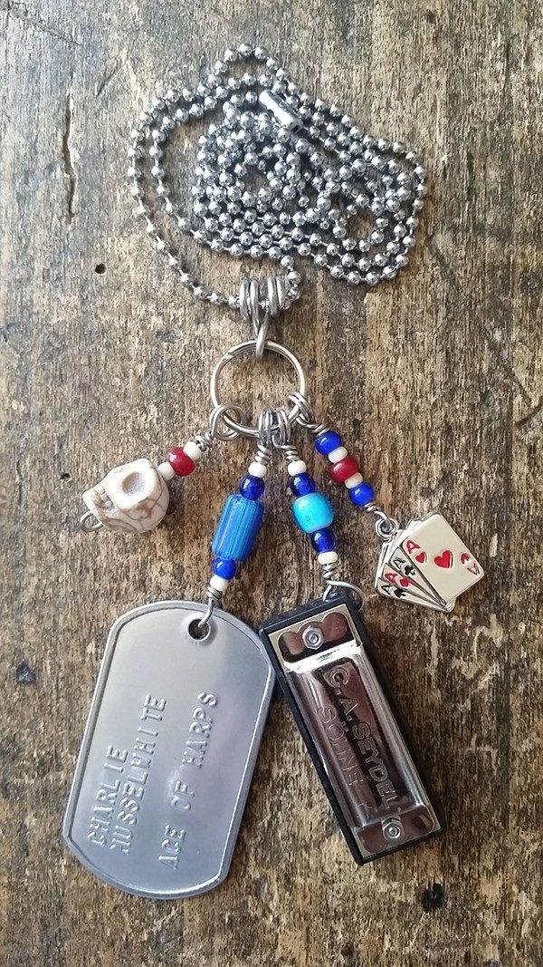 """Ace of Harps """"Lucky Hand"""" Dog Tag Necklace"""