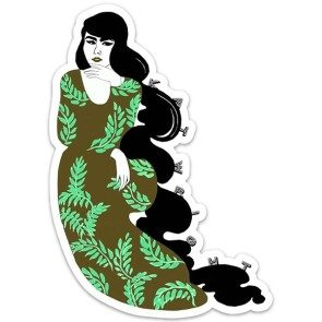 Kat Lounge Classic Sticker, Large Green