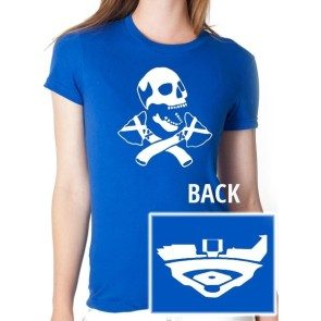 Women's Blue Skull and Tomahawk T