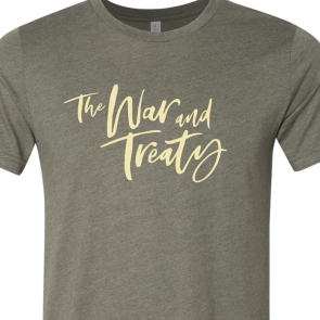 The War and Treaty Cursive Logo T Heather Military Green